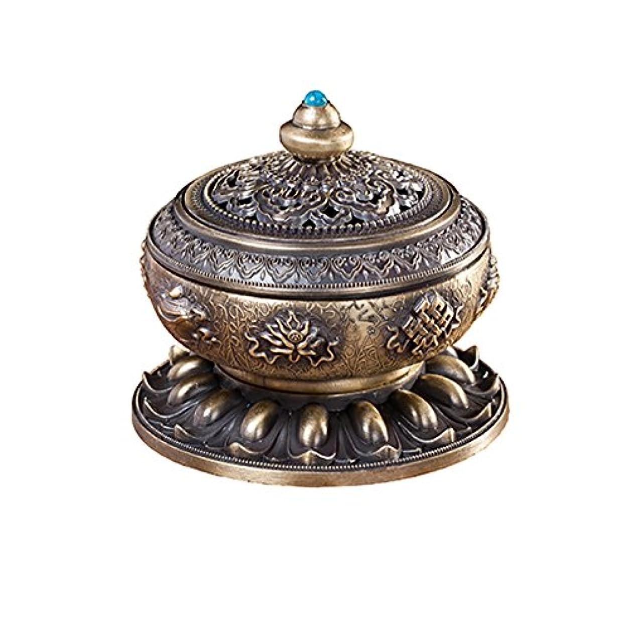 広々バリア花弁BUYSEEY 家用 アロマ香炉 青銅 ブロンズ 丸香炉 お香立て 渦巻き線香 などに 香立て付き (S)