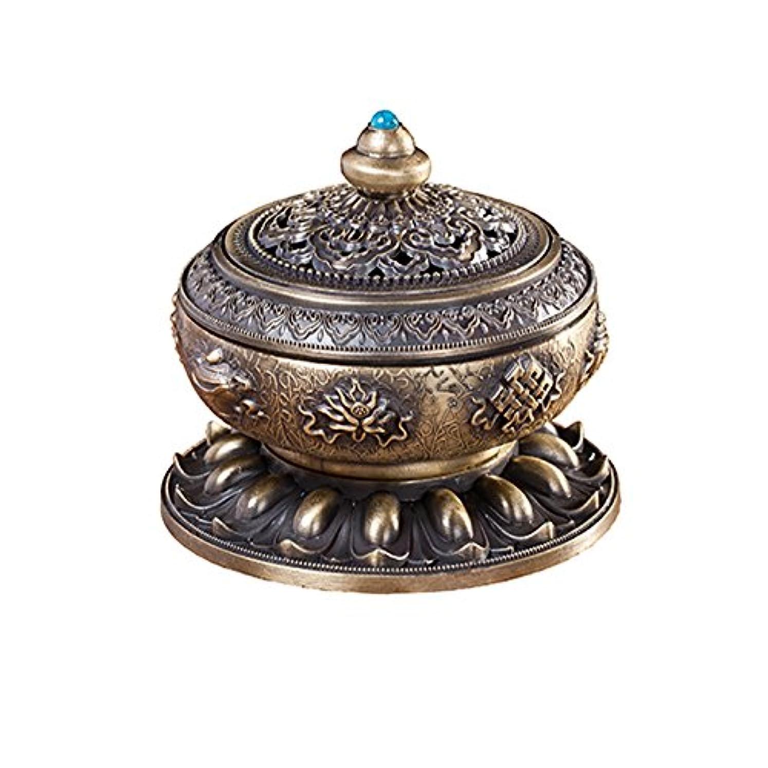 みすぼらしい医学咽頭BUYSEEY 家用 アロマ香炉 青銅 ブロンズ 丸香炉 お香立て 渦巻き線香 などに 香立て付き (S)