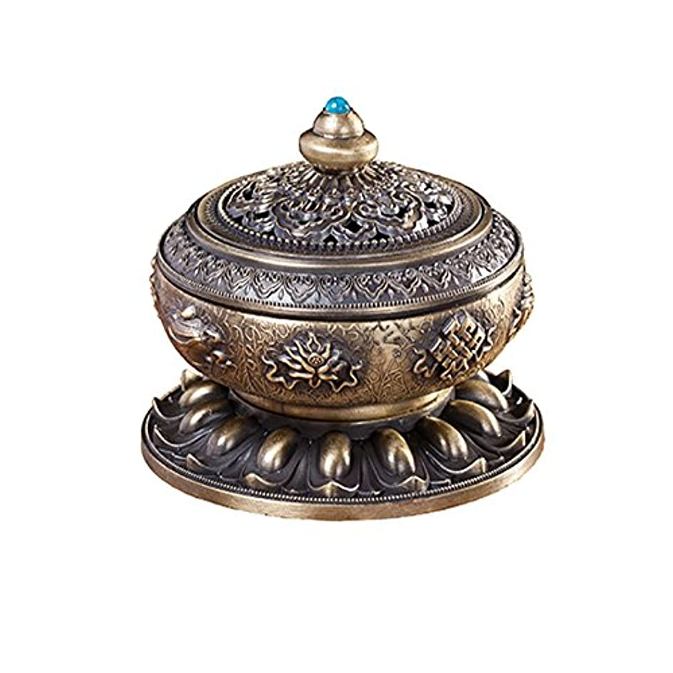 メキシコ扱う根拠BUYSEEY 家用 アロマ香炉 青銅 ブロンズ 丸香炉 お香立て 渦巻き線香 などに 香立て付き (S)
