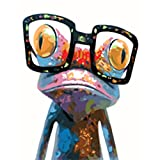 yalatan DIY oilペイントペイントby Numberキットsets-frog with Glasses