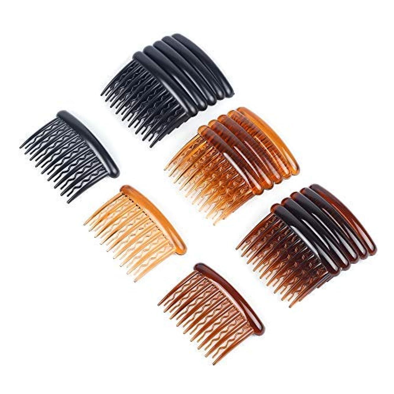 中間小道具思春期WBCBEC 18 Pieces Plastic Teeth Hair Combs Tortoise Side Comb Hair Accessories for Fine Hair [並行輸入品]