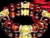 最高級AAA12mm数珠◇金彫四神獣水晶×レッドタイガーアイ(オーガンジーポーチ付き)【パワーストーンブレスレット】【天然石数珠】