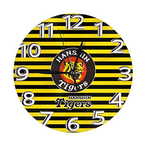 円形フレームなしの壁時計カスタマイズ阪神タイガースミュート掛け時計屋内壁の装飾デスクトップジュエリー
