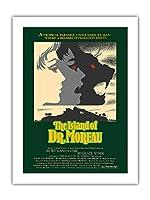島の Dr. Moreau - バート・ランカスター、マイケル・ヨーク主演 - ビンテージなフィルム映画のポスター によって作成された デイヴィッド・クライン c.1977 -プレミアム290gsmジークレーアートプリント - 46cm x 61cm