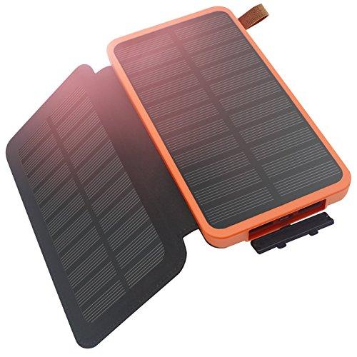FEELLE 大容量 8600mAh モバイルバッテリー 防水 ソーラーチャージャー 折りたたみ式 2 ソーラーパネル 軽便 耐衝撃 災害 旅行 アウトドアに大活躍 iPhone iPad スマホ samsung ゲーム機 等対応(オレンジ)
