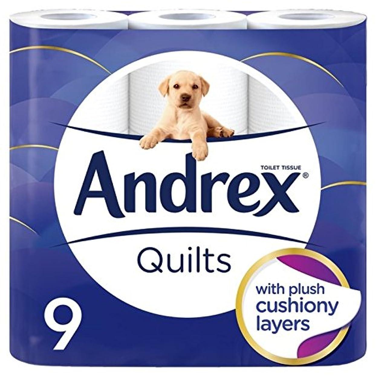 第二ポスター刑務所キルトはパックあたりの柔らかトイレットペーパー9をクッション性 x2 - Andrex Quilts Cushioned Softness Toilet Tissue 9 per pack (Pack of 2) [並行輸入品]