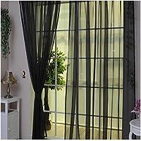 Hioffer(ハイオフア) カーテン 明るく 装飾 ボイルカーテン 洗濯可能 窓 部屋 自然の風を通し ドレープ パネル ウォッシャブル ドアカーテン チュール 薄手 UVカット カーテン 薄い 1枚 全12色 幅100cm丈200cmブラック