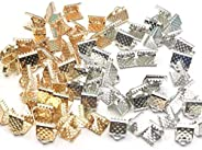 Alligator Clips, 0.24 inches (6/8 mm), Approximately 80 Pieces, 4 Types, 20 Each Ties, Ribbon Clasp, Connectin