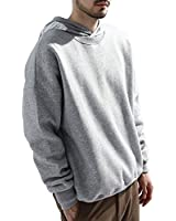 LEE FUN (リー ファン)トレーナー スウェット メンズ クルーネック 大きいサイズ シャツ ストリート 長袖 無地 綿 トップス 秋冬 裏起毛 シンプル カジュアル 7color (L, グレー)