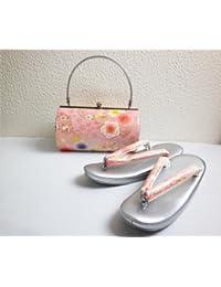 振袖&袴?着物に 草履バッグセット横丸型ピンク銀地八重桜LL