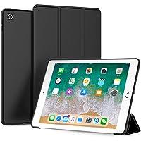 LOITSWAL 新しい iPad 9.7 2018/2017 ケース 超軽量 極薄 レザー 三つ折スタンド オートスリープ機能 TPU ソフト スマートカバー 2017年と2018年発売の 新しい9.7インチ iPad 対応(モデル番号A1822、A1823、A1893、A1954) ブラック