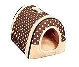 【ケーセブン】Kseven☆ ペットハウス 犬 猫 室内用 ふわふわ ドーム型 可愛い 折り畳み式 (L, ドット柄)