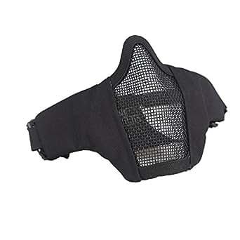 OneTigris メッシュ フェイス マスク ハーフマスク 曇らないフェイスガード サバゲー装備 コスプレ用 (ブラック)