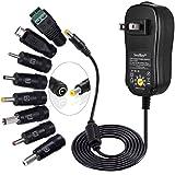 [アップグレード版] SoulBayユニバーサルAC DCアダプタ3V~12V家電およびUSB充電デバイス用、8個の選択可能なアダプタプラグ付き、マルチ電圧レギュレートスイッチング電源-最大2Amps