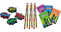 36 Piece Superhero stationery Set- Pencils, Notepads, and Erasers