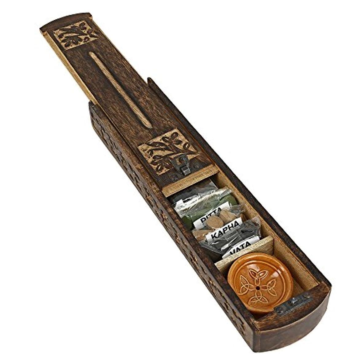 旧正月そばに独裁者Handmade Indian Wooden Incense Burner and Storage Box with Ayurveda Vata Pitta Kapha Incense & Ceramic Holder...