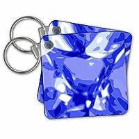 KC _ 57460InspirationzStore宝石と宝石–ブルーサファイア宝石–Gemstone–diamond-likeデザイン–Bling Gem Sparkles Glitteringテクスチャ–キーチェーン set of 2