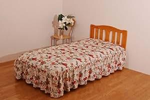 シングルサイズ フリル付きベッドスプレッド(スウェード転写) 「ロミオ」 サイズ:110×200cm(#1501109)