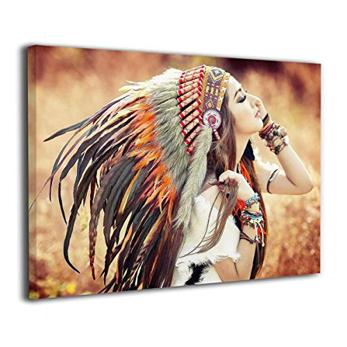 Derrick Amanda ネイティブアメリカンの女性 アートパネル 壁掛け式の装飾画 壁アート インテリアアート 額縁なし ポスター 部屋飾り ウォールアート 壁飾り アートフレーム 壁絵 モダン