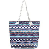 Beach Tote Bag, Hand Bag, Large Size Blue Stripe Canvas Shopping Bag Large Size with Cotton Rope Handle