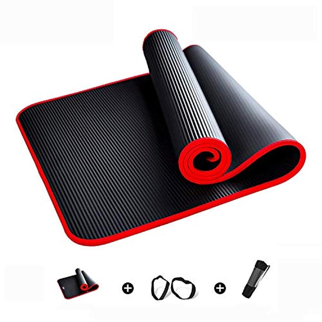 ヨガマット1/2インチ極厚高密度素材耐引裂性運動滑り止めヨガマット、キャリングストラップヨガ、ピラティス、フロアエクササイズ用のトレーニングマット