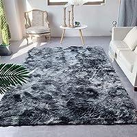 ふかふかラグ、ふわふわスーパーソフト滑り止め寝室用リビングルーム子供用カーペット-ダークグレー-200×240センチメートル(79×94インチ)