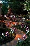 ソーラーフラワーライト ユリ 埋込型花ライト 百合 埋め込み式 防水 7色変換ユリ LEDソーラーライト ソーラ ー充電式 庭園灯 玄関ライト 屋外照明ライト イルミネーション ギフト2枚ユリ付き(1箱X2枚)