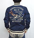 VANSON バンソン ルーニーテューンズ LTV-614 ツアージャケット ネイビー×キャメル色 ワイリーコヨーテ ロードランナー コラボ 刺繍 バイカー アメカジ サイズXL