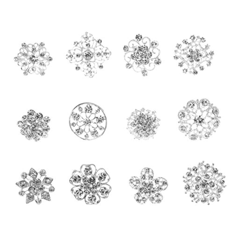 【ノーブランド 品】女性 アクセサリー 花柄 ラインストーン シルバー ブローチ ピン 12個入り