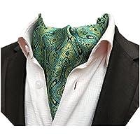 MENDENG Men's Weave Pattern Jacquard Woven Silk Cravat Tie Ascot