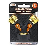 2 Way Y Hose Connector Splitter with Handle Grip for Outdoor Spigot [並行輸入品]