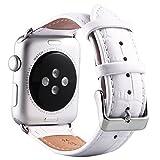 (ミーモール)Miimall Apple Watch Band 38mm レザー皮革 高 アップル ウオッチ バンド 本 革 ベルト 留め金アップル ウォッチ バンド(白)