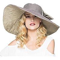 JJT Sun Hats for Women with uv Protection Wide Big Brim UPF 50 Straw Hat Women Travel Foldable Beachwear Beach Pool Floppy Dress Sun Hat (Khaki)
