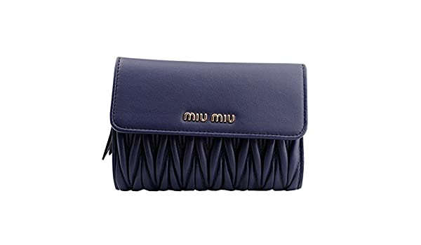 5f106143dd6d Amazon | 【アウトレット】 (ミュウミュウ)MIUMIU 三つ折り 長財布 5ML225 BLUETTE 濃いブルー [並行輸入品] | 財布