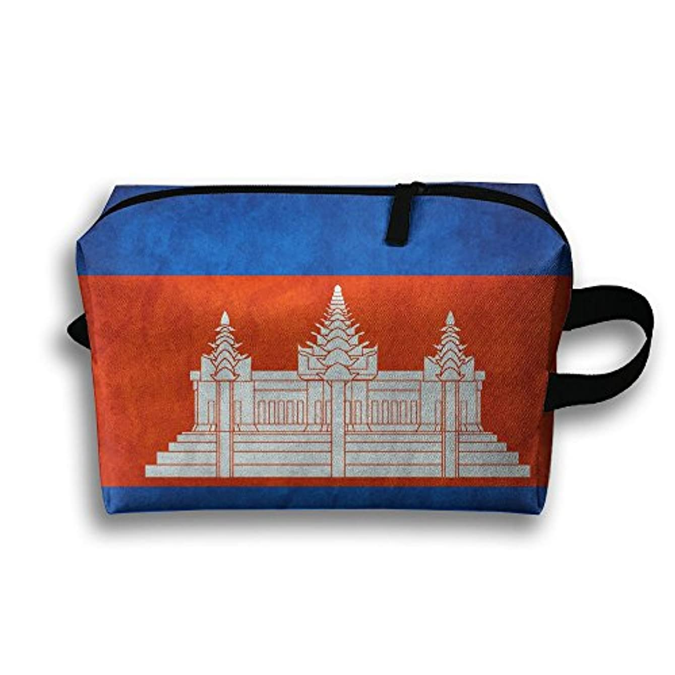 フォーク下手分類するポーチ カンボジアの国旗 旅行用化粧品バッグ スマホアクセサリー ホテル PC周辺小物整理 小物入れ 大容量 軽量 収納 White