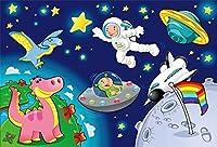 GooEoo 7×5フィート漫画のファンタジー宇宙シーンの背景星惑星宇宙船動物恐竜小さな宇宙飛行士宇宙飛行士少年誕生日パーティー写真背景布ビデオ壁紙写真スタジオの小道具
