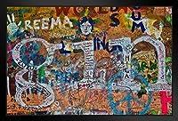 壁掛け 絵画 - ヨーロッパとアメリカ - ジョンレノンウォール落書きプラハチェコ共和国 - 43x33cm(額縁を送る)