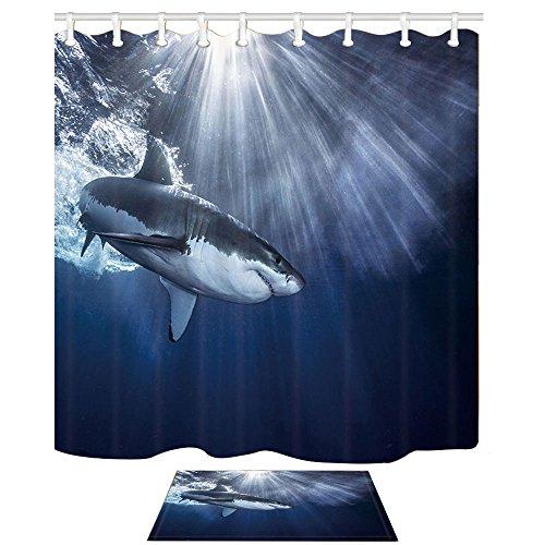 NYmB Oceanicシャワーカーテン、Shark Jaw...