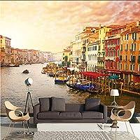 Xbwy カスタム3D写真壁画壁紙夕暮れヨーロッパ建築都市横のリビングルーム寝室テレビソファの背景-150X120Cm
