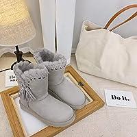 さんの冬のブーツ、ウールの雪のブーツ、防水ノンスリップ底、上部の 革、暖かい風、毛皮の靴,フリースの裏地の靴、35-40 JCXOZ (Color : Gray, Size : 40)