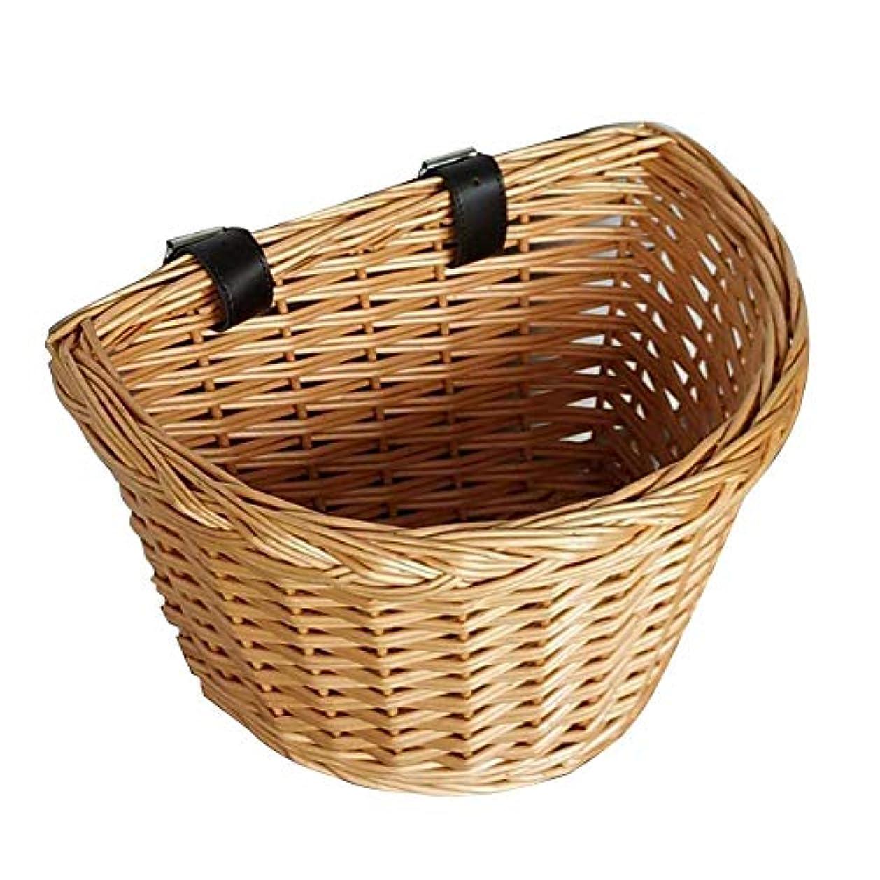 伝染性完璧な好きであるFECHO 自転車かご こども フロント用 籐 前かご 籐風バスケット 自転車バスケット オシャレ 取り付けが簡単 工具不要 通学 子供自転車用