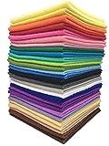 28枚 30cm x 30cm 不織布 羊毛フェルト 手芸用 厚くて柔らかいタイプ DIY クラフト 縫って作る用毛氈 カラフル28色詰め合わせ