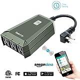 Koolertron Wifiスマートプラグ ワイヤレスWi-Fi屋外スマートプラグ 遠隔操作 リモートコントロール 電源管理コンセント Amazon (アマゾン) のAlexa (アレクサ) と連携 (グリーン)