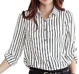 (ルビタス) rubitas ストライプ カッター シャツ オフィス 長袖 ワイシャツ ビジネス Vネック スキッパー M