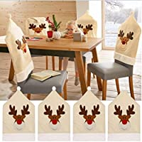 inverlee 4pcs Aパック鹿帽子椅子カバークリスマス装飾ディナー椅子Xmasキャップセット