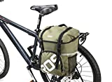 ROSWHEEL 自転車防水バッグ バイクリアラック座席トランク 旅行サイクリングパニエバッグ15L(片側) (グリーン)
