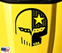 """JakeスカルUSAフラグ18""""フードカーデカール–カーボンファイバービニールグラフィックス( Fits Chevy Corvette c6) ブラック PC-C6-JakeS-USAFLAG-003-CFV-Black"""
