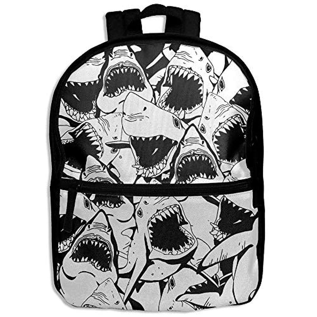 ニュース受信反発するキッズバッグ キッズ リュックサック バックパック 子供用のバッグ 学生 リュックサック 怒っているサメ アウトドア 通学 ハイキング 遠足