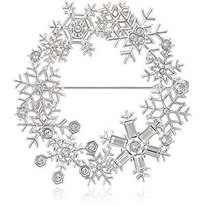 [ヴァンドーム ブティック] VENDOME BOUTIQUE STORY 12月号掲載 【2017年Xmasコレクション】雪の結晶 リース スワロフスキー クリスタル ブローチ VBMV7566 UT