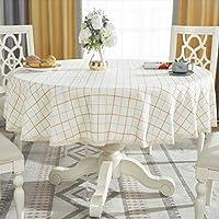 ラウンドテーブルクロス、牧歌的な厚手コットンリネンやけど防止抗シワキッチンコーヒーテーブルレストランの装飾に適して (色 : D, サイズ さいず : 55''Round)